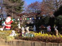 クリスマスのかわいいデコレーションでお出迎えの羽村動物園の入口です。基地を返還されてできた動物園です。